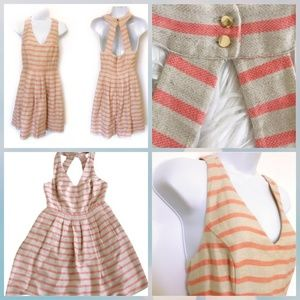 Banana republic linen striped halter fit and flare